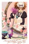 cosmetics dress drill_hair engrish flower hair_brush hands hat maid matsuo_hiromi mirror perfume_(cosmetics) perfume_bottle ranguage rose solo victorian