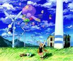 1girl alternate_color arms_up bag beanie bidoof blue_sky closed_eyes cloud drifblim drifloon grass hat hikari_(pokemon) hoppip jumpluff minahamu miniskirt mountain open_mouth pachirisu pokemon pokemon_(creature) pokemon_(game) pokemon_dppt pokemon_gsc scarf shiny_pokemon skiploom skirt sky smile wind wind_turbine windmill