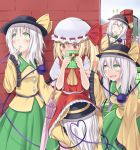 4girls :d :o ascot blonde_hair blush clone closed_eyes commentary covering covering_face eyes_closed fang finger_to_mouth flandre_scarlet four_of_a_kind_(touhou) gift green_eyes hands_together hat hat_ribbon head_under_dress heart heart_of_string hong_meiling komeiji_koishi long_hair long_sleeves looking_away looking_up multiple_girls open_mouth patchouli_knowledge pointy_ears poking purple_hair red_eyes red_hair redhead ribbon short_hair silver_hair skirt sleeves_past_wrists smile suzushiro_yukari third_eye touhou umbrella under_clothes under_dress under_skirt wide_sleeves wings yuri