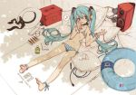 ankle_ribbon anklet aqua_hair barefoot bikini blush bracelet choker cushion feet flat_chest hat hatsune_miku headphones jewelry long_hair micro_bikini ooyari_ashito open_mouth side-tie_bikini sketch solo speaker striped striped_bikini striped_swimsuit swimsuit toes twintails very_long_hair vocaloid