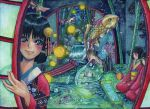 3girls bamboo black_eyes bubble east_asian_architecture fish floral_print flower flying glowing hair_ornament hfdoogirjbr highres inside japanese_clothes kimono looking_at_viewer multiple_girls plant ripples rock scroll surreal swimming water waterfall