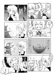 4koma apron bad_id bear blush_stickers bow braid chopsticks cirno comic dress eating food hair_bow hat hoshiguma_yuugi kazuboh kirisame_marisa long_hair monochrome multiple_4koma multiple_girls open_mouth short_hair soup sweat touhou translation_request wings witch witch_hat