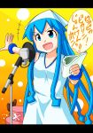 1girl 1other animal blue_eyes blue_hair crossover diomedea dress eimsman gradient gradient_background hat highres human ikamusume kanemoto_hisako long_hair microphone microphone_stand one_piece ootani_ikue orange_background pika_pika_pikarin_jankenpon precure reindeer seiyuu_connection shinryaku!_ikamusume shounen_jump singing smile_precure! tentacle_hair teoi_animation tony_tony_chopper translated translation_request tv_tokyo yellow_background