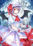 ascot bad_id bat_wings brooch colored_eyelashes dress hat highres jewelry purple_hair red_eyes remilia_scarlet short_hair smile solo stari touhou wings wrist_cuffs