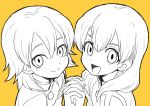 2boys bust crossover face holding_hands inazuma_eleven inazuma_eleven_(series) inazuma_eleven_go kariya_masaki long_hair looking_at_viewer male_focus miyasaka_ryou monochrome multiple_boys open_mouth riho simple_background smile time_paradox yellow_background