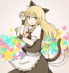 1girl animal_ears apron blonde_hair bow braid cat_ears cat_tail grey_background hair_bow hiroya_masaharu kemonomimi_mode kirisame_marisa light_smile long_hair looking_at_viewer no_hat no_headwear paw_pose short_sleeves simple_background single_braid skirt skirt_set solo star tail touhou waist_apron wrist_cuffs yellow_eyes