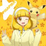 1girl 1other ;d animal blonde_hair cardigan creatures_(company) crossover enu_(spinal) floral_background game_freak hairband kise_yayoi mouse nintendo olm_digital ootani_ikue open_mouth pika_pika_pikarin_jankenpon pikachu pokemon pokemon_(creature) power_connection precure seiyuu_connection short_hair smile smile_precure! studio_connection v wink yellow yellow_background yellow_eyes