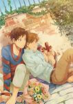 ahoge annoyed arm_around_shoulder axis_powers_hetalia barefoot belt blush bouquet brick brick_wall brown_hair clenched_teeth dutch_angle fingernails flower green_eyes leaning leaning_back long_sleeves male multiple_boys pants plant ribbon sitting sky southern_italy_(hetalia) spain_(hetalia) sweat teeth untying vines wall zukki_(suzukio)