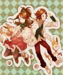 brown_eyes brown_hair casual deerling dress fingerless_gloves gloves hair_ornament jacket pantyhose poke_ball pokemon pokemon_(game) pokemon_bw ponytail sakida_kiyu scarf touko_(pokemon) touya_(pokemon) vest