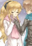 1girl blind blonde_hair blush closed_eyes couple eyes_closed gebyy-terar gloves hair_ribbon hand_on_another's_face hand_on_another's_face happy katawa_shoujo long_hair love nakai_hisao outdoors ponytail ribbon satou_lilly scarf snow winter_clothes