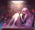 bare_shoulders barefoot bracelet branch butterfly cage cushion flower hair_flower hair_ornament jewelry long_hair original pink_eyes pink_hair sitting solo star tsukioka_tsukiho wink