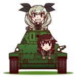 2girls anchovy brown_eyes brown_hair carpaccio caterpillar_tracks drill_hair girls_und_panzer green_hair hair_ribbon long_hair lowres military military_uniform military_vehicle multiple_girls necktie osaka_kanagawa ribbon smile tank twin_drills twintails uniform vehicle