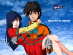 airplane black_hair blue_eyes brown_hair choujikuu_yousai_macross cloud couple english fan_racer flying gloves good_end green_eyes ichijou_hikaru jet long_hair lynn_minmay macross oldschool pilot_suit scarf science_fiction sideburns tachibana_kazuto