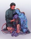 1girl 2boys age_difference azazel_(x-men) black_hair blue_skin devil family father father_and_son hug marvel monster_boy monster_girl mother mother_and_son multiple_boys mystique nightcrawler nude pointy_ears pukun purple_skin red_skin redhead son tail wink x-men x-men:_first_class young
