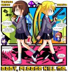 ahoge alien blazer blonde_hair brown_eyes brown_hair comic eating engrish food goshiki_agiri green_eyes gun hair_ribbon hamburger highres jacket_around_waist kill_me_baby knife long_hair mcdonald's mcdonald's multiple_girls necktie open_mouth oribe_yasuna pistol purple_hair ranguage red_hair redhead ribbon rindou_(awoshakushi) school_uniform short_hair skirt sonya_(kill_me_baby) suppressor twintails unused_character weapon