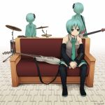 alternate_hairstyle aqua_hair bangs bare_shoulders bass_guitar bob_cut boots couch cover cymbals detached_hair detached_sleeves drum drum_set electric_guitar flat_gaze green_eyes guitar hair_over_eyes hatsune_miku headset instrument miniskirt multiple_persona necktie short_hair sitting skirt sling standing tattoo thigh-highs thighhighs vocaloid yajirushi_(chanoma) zettai_ryouiki