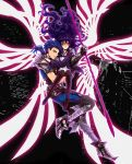 1girl armor black_hair black_legwear blue_hair carrying command_spell fate/prototype fate_(series) gae_bolg glowing highres lancer_(fate/prototype) long_hair paul_t polearm ponytail red_eyes reiroukan_misaya spear thighhighs weapon