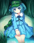 blue_dress blue_eyes blue_hair dress feet_in_water grass hair_bobbles hair_ornament hand_on_thigh hat head_tilt kamanatsu kawashiro_nitori key light_smile long_sleeves looking_at_viewer pocket short_hair sitting soaking_feet solo strap touhou twintails water