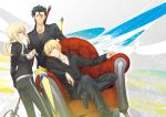 2boys ahoge androgynous avalon_(fate/stay_night) black_hair blonde_hair couch dutch_angle excalibur fate/zero fate_(series) formal gae_buidhe gae_dearg gilgamesh green_eyes lancer_(fate/zero) long_hair mole multiple_boys pant_suit polearm ponytail red_eyes reverse_trap saber spear suit sword tomboy track_suit v-neck weapon xia_(ryugo) yellow_eyes