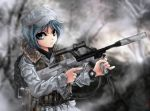 assault_rifle blue_eyes blue_hair bullpup cqc gun hat kawashiro_nitori knife load_bearing_vest looking_at_viewer operator pinky_out pistol rifle scope sling solo steyr_aug suppressor terabyte_(rook777) touhou trigger_discipline vertical_foregrip weapon