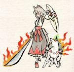 crossover flaming_sword inubashiri_momiji issun kusang0u okami ookami_(game) parody sarashi shield style_parody sword touhou weapon wolf