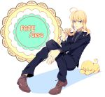 :t ahoge androgynous bad_id blonde_hair doughnut eating fate/zero fate_(series) fod_on_face food food_on_face formal green_eyes long_hair mister_donut necktie pant_suit pingo0423 pon_de_lion ponytail puffy_cheeks saber solo suit tears title_drop