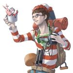 backpack bag belt binoculars brown_hair camera cup facial_hair glasses hat highres holding kirenenko long_sleeves male open_mouth pamphlet pomodorosa randoseru reading risa_hibiki shirt short_hair shovel simple_background smile snorkel solo striped striped_shirt stubble t-shirt usavich wally where's_wally where's_wally white_background worktool