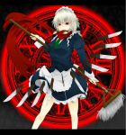 apron broom covering_mouth floating_object izayoi_sakuya knife magic_circle maid maid_headdress necktie red_eyes sakudono short_hair silver_hair skirt skirt_set solo touhou