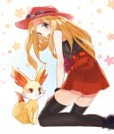 1girl black_legwear blonde_hair blush female_protagonist_(pokemon_xy) fennekin grey_eyes kneeling long_hair pokemon pokemon_(game) pokemon_xy shiyun skirt sunglasses sunglasses_on_head thigh-highs zettai_ryouiki