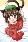 akou_roushi all_fours animal_ears blush bottomless brown_hair cat_ears cat_tail chen earrings fang jewelry multiple_tails naked_sweater no_pants oversized_clothes red_eyes ribbed_sweater short_hair single_earring sleeves_past_wrists smile solo sweater tail touhou white_legwear