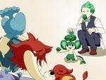 3boys blue_hair corn_(pokemon) dent_(pokemon) eating green_hair grinning_cheshire_cat multiple_boys panpour pansage pansear pod_(pokemon) pokemon pokemon_(creature) pokemon_(game) pokemon_bw red_hair redhead