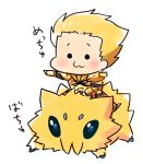 :3 armor blonde_hair chibi crossover earrings fate/stay_night fate_(series) gilgamesh hachi_(gaoo) jewelry joltik male pokemon riding white_background
