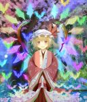 ai_ai_gasa bat blonde_hair blush bunchou_(bunchou3103) cloud flandre_scarlet flower hair_flower hair_ornament hat japanese_clothes kimono moon open_mouth red_eyes short_hair side_ponytail smile solo the_embodiment_of_scarlet_devil touhou tree wading water wings