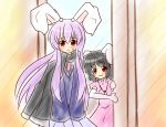 :3 animal_ears black_hair blush bunny_ears carrot inaba_tewi jewelry long_hair multiple_girls necklace open_mouth purple_hair red_eyes reisen_udongein_inaba scarf touhou udonge yurume_atsushi