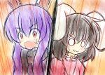 :3 animal_ears black_hair bunny_ears inaba_tewi long_hair multiple_girls o_o open_mouth purple_hair red_eyes reisen_udongein_inaba short_hair surprised touhou yurume_atsushi
