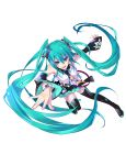 aqua_eyes aqua_hair bare_shoulders boots detached_sleeves hatsune_miku highres long_hair looking_at_viewer monq necktie open_mouth simple_background skirt smile solo thigh-highs thigh_boots thighhighs twintails very_long_hair vocaloid zettai_ryouiki