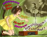 1boy 2girls anger_vein angry animal_ears brown_hair cat_ears colored_text dress english fang instrument kneeling leon_theremin lydia_kavina mary_janes moog multiple_girls old_man outstretched_arm shoes short_hair skyape socks theramin theremin yellow_dress yellow_eyes
