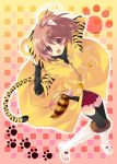 absurdres animal_ears boots checkered flyable_heart highres inaba_yui itou_noiji paw_print tail thigh-highs thighhighs tiger_print