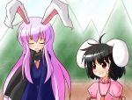 animal_ears blush bunny_ears carrot inaba_tewi jewelry long_hair multiple_girls necklace open_mouth purple_hair red_eyes reisen_udongein_inaba scarf touhou yurume_atsushi