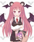 animal_ears annoyed bat_wings bear_ears blackmail blush book book_hug bookshelf breasts crossed_arms demon_wings dress_shirt garter_straps head_wings highres kemonomimi_mode koakuma large_breasts long_hair looking_at_viewer maromi_gou necktie open_mouth patchouli_knowledge photo_(object) pov red_eyes red_hair redhead shirt skirt skirt_set sleeping solo the_embodiment_of_scarlet_devil touhou very_long_hair vest white_shirt wings