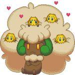 <3 afro angry animated animated_gif blue_eyes collar crossed_arms dark_skin frown gif glowing glowing_eyes heart joltik lowres mane no_humans orange_eyes pixel_art pokemon pokemon_(creature) pokemon_(game) pokemon_bw whimsicott