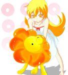 barefoot blonde_hair highres long_hair mister_donut monogatari_(series) nisemonogatari oshino_shinobu suno-pi yellow_eyes