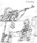 alternate_costume boots contemporary dragunov_svd gloves gun kisume kurodani_yamame lleu military military_uniform monochrome on_stomach picture_(object) picture_frame ponytail rifle scope sitting sketch sniper_rifle solo touhou uniform weapon
