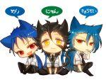 :3 ahoge animal_ears black_hair blue_hair bowtie cat_ears cat_tail chibi cigarette crossover earrings fang fate/prototype fate/stay_night fate/zero fate_(series) jewelry kemonomimi_mode lancer lancer_(fate/prototype) lancer_(fate/zero) laphy long_hair male md5_mismatch mole multiple_boys necktie ponytail red_eyes tail vest waistcoat white_background yellow_eyes