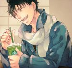 alternate_costume black_hair blue_jacket coffee fate/zero fate_(series) jacket laughing male matou_kariya nishi_juuji scarf solo starbucks