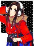 bad_id bag black_hair blazer brown_eyes digital_media_player earphones female hand_on_headphones headphones joujima_yuuki kamen_rider kamen_rider_fourze_(series) kotono long_hair mp3 pocky scarf school_uniform solo