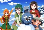 1boy 3girls arm_up black_hair breasts character_request dragon_quest hand_on_hip long_hair looking_back multiple_girls open_mouth orange_hair short_hair smile snow snowman tsurukou_(tksymkw)