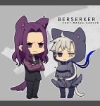 ahoge animal_ears annoyed armor berserker_(fate/zero) blue_eyes cat_ears cat_hood cat_tail chibi crossed_arms dog dog_ears dog_tail dual_persona english fake_animal_ears fate/stay_night fate/zero fate_(series) frown grey_eyes helmet heterochromia hood hoodie hug kemonomimi_mode laphy long_hair male matou_kariya multiple_boys purple_eyes purple_hair scar suit tail vest violet_eyes waistcoat white_eyes white_hair wings