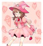 1st-mn animal_ears bowtie brown_hair cat_ears character_request copyright_request dress food fruit glasses green_eyes hat magical_girl sakuma_rinko skirt solo strawberry tail tongue wand wink witch_hat yondemasuyo_azazel-san