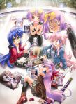 blue_hair book cosplay dual_persona fisheye glasses green_eyes grin guitar_case highres hiiragi_kagami hiiragi_tsukasa instrument_case izumi_konata long_hair lucky_star manga_(object) meta nyanmilla pink_hair purple_eyes purple_hair short_hair smile soda_can sword takara_miyuki trembling violet_eyes weapon